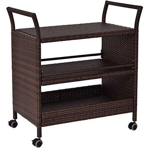 Rolling Rattan Serving Cart With 3 Storage Shelves Rack Kitchen Island Dining Trolley Indoor Outdoor Furniture Rattan Material And Solid Steel Construction 360 Degree Swivel Wheels Large Storage Space (Rattan Outdoor Furniture Perth)