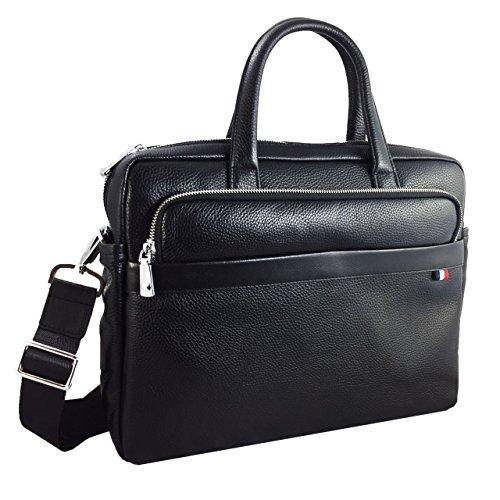 Premium Laptoptasche für Acer TravelMate B117 (B117-M-P4VH) Businesstasche / Aktentasche / Notebooktasche mit Schultergurt aus echtem Leder - LB schwarz 1 HzGDfD3