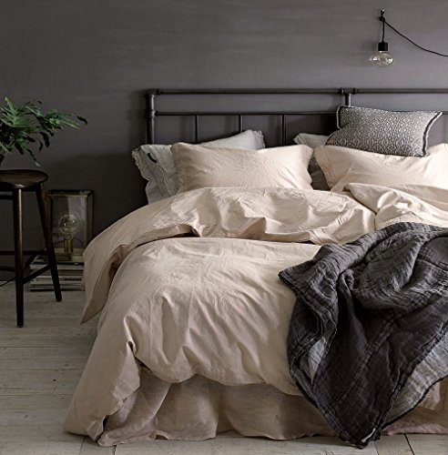 Eikei Washed Cotton Chambray Duvet Cover Solid Color Casual Modern Style Bedding Set Relaxed Soft Feel Natural Wrinkled Look (King, ()