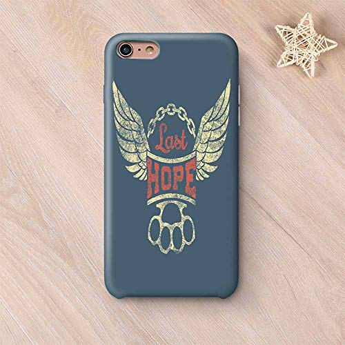 Vintage Printing Compatible with iPhone Case,Grunge Label Wings Chain Brass Knuckles Last Hope Quote for Bikers Compatible with iPhone 6 Plus / 6s Plus,iPhone 6 Plus / 6s Plus