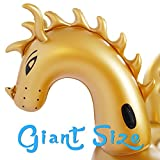Geekper Inflatable Giant Golden Dragon Pool Floats, 104.3 x 49.2 x 78.8 inch Party Toys for Adults Kids, Outdoor Vacation Beach Loungers Lake Ride-ons River Raft