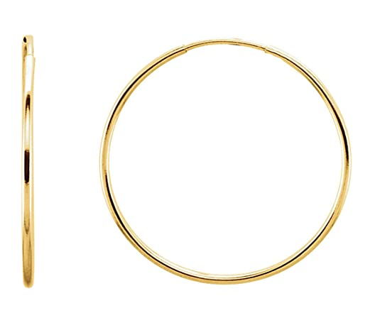 Thin Continuous Tube (1mm) 14K Gold Hoop Earrings 10 - 24mm - DeluxeAdultCostumes.com