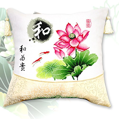 DOMEI Cushion Cover Stamped Cross Stitch Kit, Chinese Wishes and Lotus, 19.3 x 19.3inches