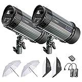 Neewer 600W Studio Strobe Flash Photography Lighting Kit:(2)300W Monolight,(2)Softbox,(1)RT-16 Wireless Trigger,(2)33 inches Translucent Umbrella for Video Portrait Location Shooting(N-300W)