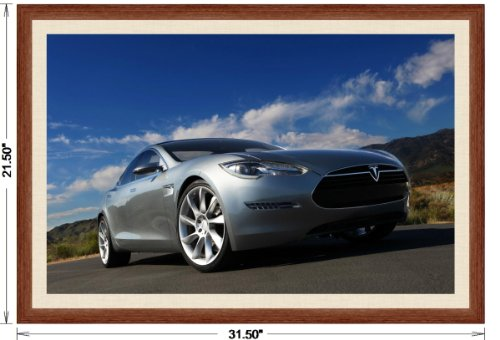 Tesla Model S 2009 Framed Car Art Poster Print Silver Front Side Low Profile Static View in Light Walnut Frame, 1 Cream Simulated Mat