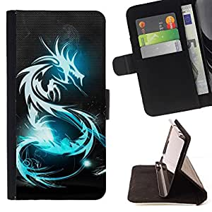 Momo Phone Case / Flip Funda de Cuero Case Cover - BLUE GLOW DRAGÓN TRIBAL - Apple Iphone 5 / 5S