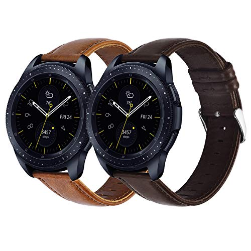 KADES Galaxy Watch 42mm Band, Galaxy Watch Active Band, 20mm Leather Replacement Strap with Quick Release Pin Compatible for Garmin VivoActive 3, Ticwatch E (Coffee and Coffee, Silver Buckle)
