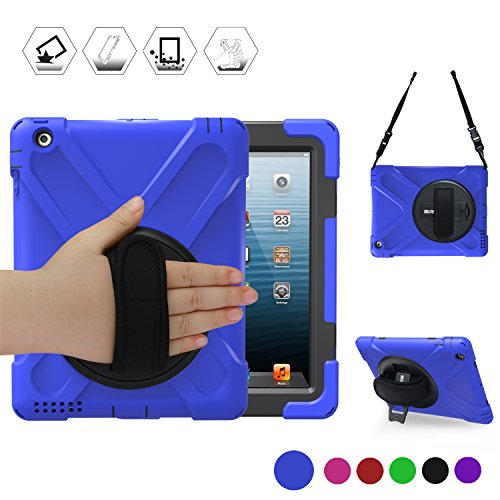 BRAECN Apple iPad 2 iPad 3 iPad 4 Handheld Shock and Drop Proof Rugged Stand Case with a 360 Degree Swivel Kickstand and a Adjust Hand Grip,Blue Black