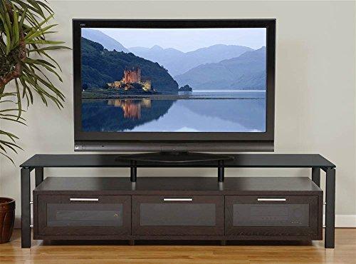 Plateau Decor 71 (B)-B-BG Wood and Glass TV Stand, Blackoak -