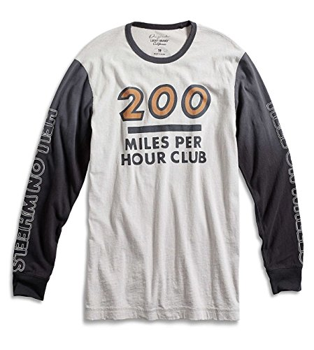 Lucky Brand - Men's - Motorcycle 200 Miles/Hr Club Long Sleeve Cotton Baseball T-Shirt (X-Large)
