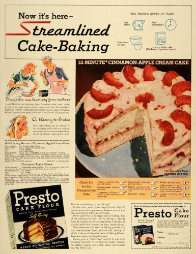 1940's Cream (1940 Ad Presto Cake Flour Cinnamon Apple Cream Recipe - Original Print Ad)