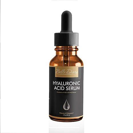 Belle Diary Serum de Ácido Hialurónico 1oz - Crema Orgánica Hidratante Facial Antienvejecimiento con Vitamina C