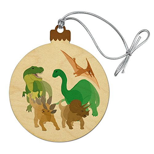 GRAPHICS & MORE Dinosaurs Hanging Out Tyrannosaurus Rex Triceratops Stegosaurus Brontosaurus Wood Christmas Tree Holiday Ornament ()