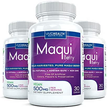 Maqui Berry (3 Bottles) - High Potency, Super Absorbable Premium Maqui Berry Supplement. The All-Natural Diet, Cleanse & Detox, Antioxidant Superfood Product (500mg - 30 Capsules Each)