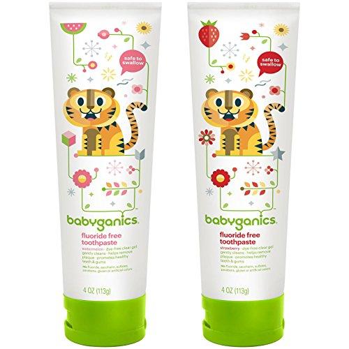 - BabyGanics Fluoride Free Toothpaste 4 oz, Twin Pack - Watermelon & Strawberry