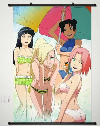 Wall Scroll Poster Fabric Painting For Anime Naruto Yamanaka Ino & Haruno Sakura &