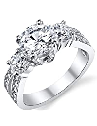 """Metal Masters Co.® 1.50 Carat Round Cubic Zirconia """" Past, Present, Future"""" Sterling Silver 925 Wedding Engagement Ring"""
