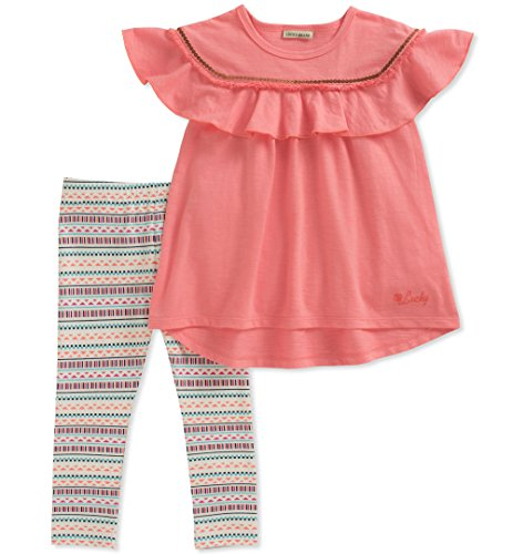 Lucky Brand Little Girls' Pants Set, Coral/Print, 5 by Lucky Brand