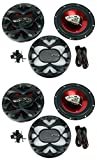 """4) New BOSS CH6530 6.5"""" 3-Way 600W Car Audio Coaxial Speakers Stereo Red"""