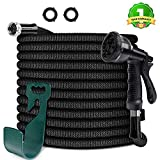 HooSeen Upgraded Expandable Garden Hose, 3/4'100FT Solid Brass Rust Free Connectors, Double Latex Core, Extra Strength 3750D Fabric, Flexible Water Hose, 8 Function Spray Nozzle, Storage Sack, Hanger