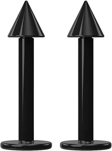 ball or spike 2 x LIP TRAGUS MONROE BLACK ANOD TITANIUM BAR 1.2mm x 8mm 16g
