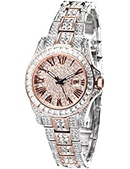 Princess Butterfly Austria Crystal Pave Dial Crystal Encrusted Bling Womens Watch reloj de Mujer