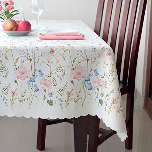 re Easter Tablecloth Non-iron Stain Resistant- Table Cover Perfect for Kitchen Dining Room Restaurants Thanksgiving Christmas Dinner New Year (ECRU flowers, Square 52