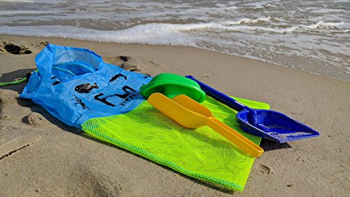 MESH BAG (Neon Green, Large 15''x23'') - Premium Net Tote Perfect for Kid Beach Toy, Seashells, Pool Towel, Swimsuit - Keep Sand and Water Away - Go Well with Sand Dipper & Sea Shell Sifter Tool