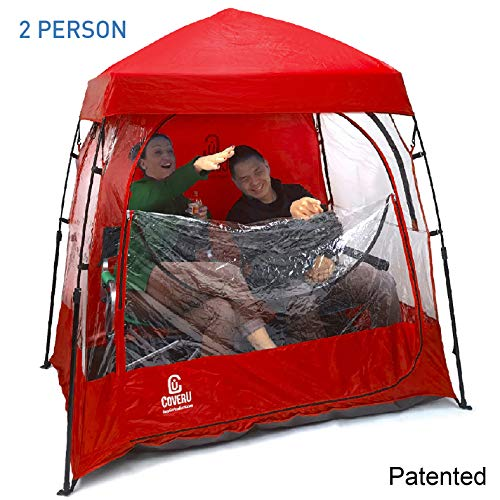 EasyGoProducts CoverU Sports Shelter - 2 Person Weather Tent Pod (RED) - Patents Pending (Chair Tent)