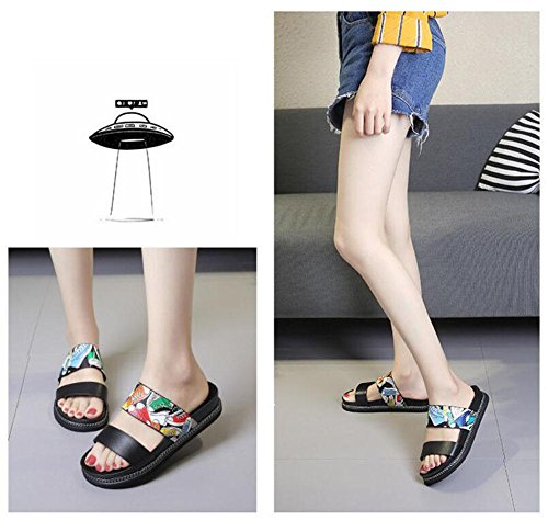 Single Sandals Beach Flops Mules Comfort Metal Black Open Toe Shoes Buckle Women Flip Cork Roman Shoes wvqEXAz