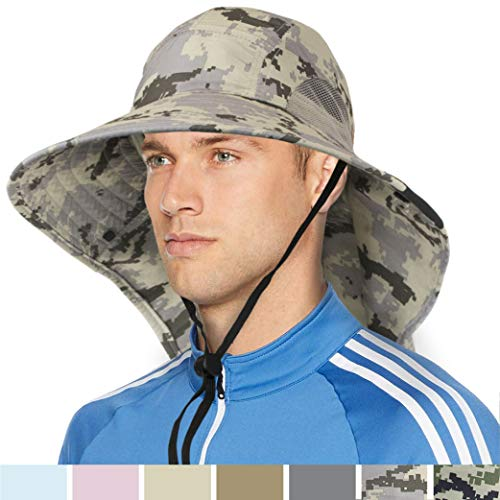 5440e33d SUN CUBE Outdoor Wide Brim Sun Hat with Neck Cover Flap | Men, Women Summer Sun  Protection Hat UPF 50+ for Hiking, Fishing, Gardening | Breathable, Foldable