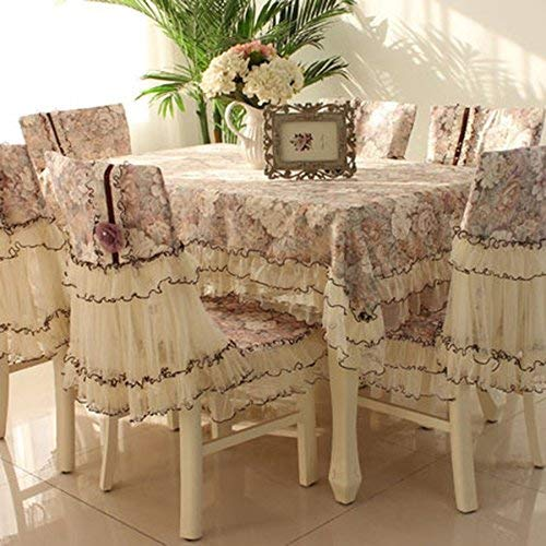 (Home Kitchen Decoration Tablecloths European-Style Table Cloth Chair Cushion Cover Lace Fabric Chair Sets Coffee Table Cloth Rectangular Tablecloth Simple Pastoral (Color : D, Size : 7#) from sea-j)