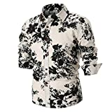 Hot Sale Men Shirts vermers Personality Men's Fashion Casual Slim Long Sleeve Printed Tops Blouse(4XL, White)