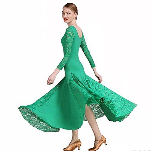 Q-JIU Danse De Salon Robes Femme Entra?nement Utilisation Dentelle Viscose Dentelle Manches Longues Taille Moyenne Robe Green