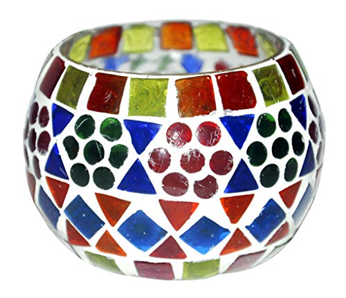 - Lalhaveli Indian Tea Light Candle Holder Decoration Vintage Glass Votive Candle Hodler 3 Inches