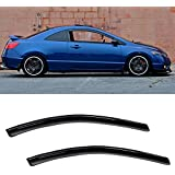 VIOJI 2pcs Front Door Dark Smoke Outside Mount Style Sun Rain Guard Vent Shade Window Visors Fit 06-11 Honda Civic 2-Door Coupe Only