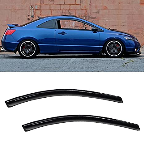 Amazon.com  VIOJI 2pcs Front Door Dark Smoke Outside Mount Style Sun Rain  Guard Vent Shade Window Visors Fit 06-11 Honda Civic 2-Door Coupe Only   Automotive e676bfcd34e