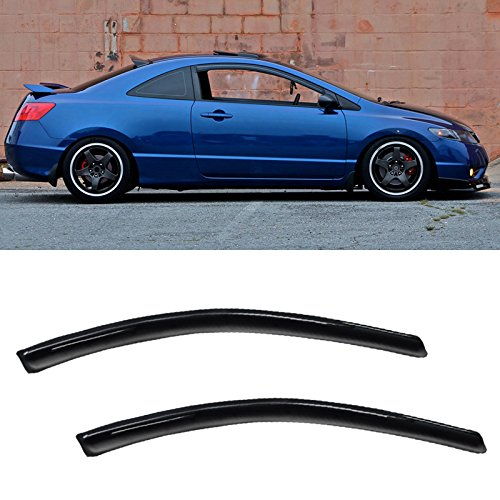 VIOJI 2pcs Front Door Dark Smoke Outside Mount Style Sun Rain Guard Vent Shade Window Visors For 06-11 Honda Civic 2-Door Coupe Only