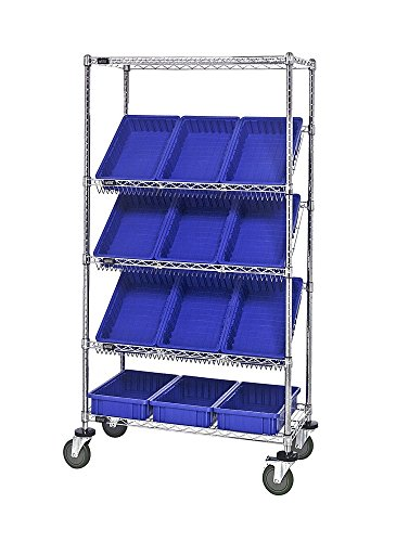 (Quantum Wire Mobile Slanted Shelving Unit with Blue Bins Chrome 18