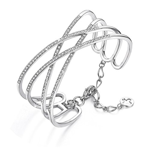 SPILOVE Serend Charm Cubic Zirconia Criss Cross Wide Cuff Bangle Bracelets in 18k White Gold Plated Women Jewelry, Mothers Day Gifts