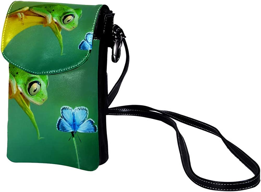 small crossbody bag for women and men anti theft shoulder bags zip leather bag crossbody Animals Green 7.5x4.7x0.8inch