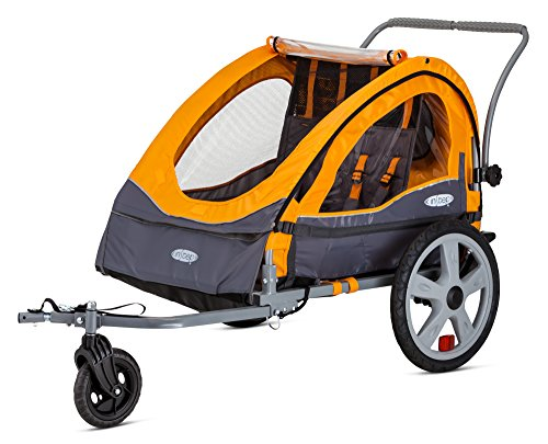 InStep Sierra Double Seat Foldable Tow Behind Bike Trailers, Converts to Stroller/Jogger, Featuring 2-in-1 Canopy and 20-Inch Wheels, for Kids and Children, Orange ()