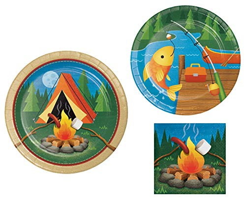 Camping Themed Party Supply Pack! Bundle Includes Paper Plates and Napkins for 8 Guests in a Camp Out Design. (Camp Themed Paper Plates)