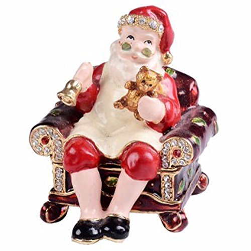 Jewelled Santa Claus Enameled Trinket Box Christmas Gift Tabletop Ornament