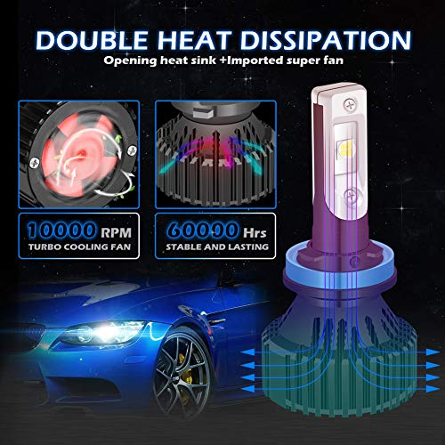 KaTur H11 H9 H8 Faros LED Bombillas Super Brillante CREE Chips 16000LM Kit de conversión de Faros LED Impermeable All-in-One 60W 6500K Xenón Blanco - 3 años ...