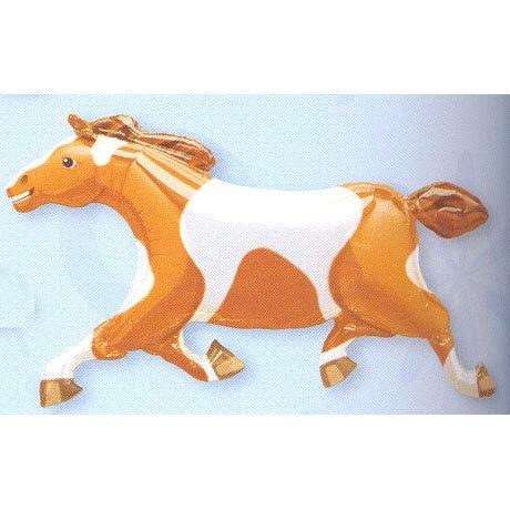 BROWN WHITE HORSE PONY MYLAR FOIL WESTERN BALLOON]()