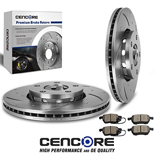 A4 Quattro Rotor ((Front) 2pcs Drilled Slotted Brake Rotors and 4pcs Brake Ceramic Pads - Combo Brake Kit for Audi A4 2002-7/2004 (Manufactured Before July 2004) 2002 Audi A4 Front Rotors)