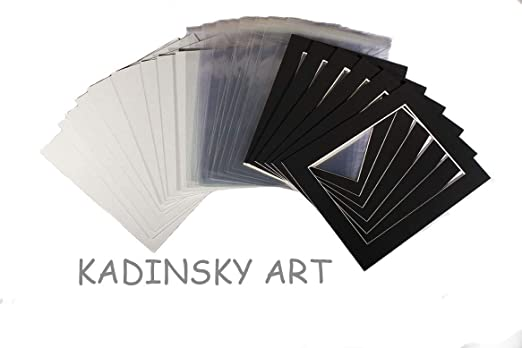 Kadinsky Art 20 Picture Photo Mounts Backs and Clear Bags 12 x 16 to fit A4 Black Mountboard