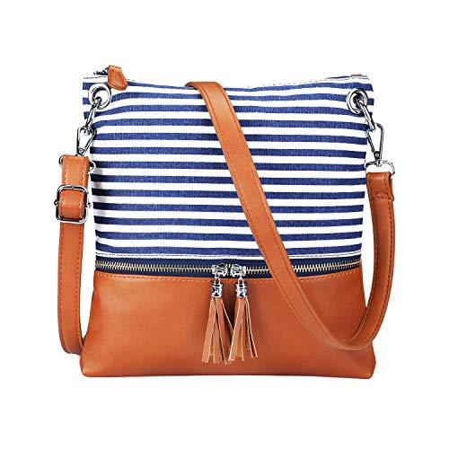Newshows Lightweight Medium Canvas PU Leather Crossbody Bag with Tassel Purse for Women(Blue) ()