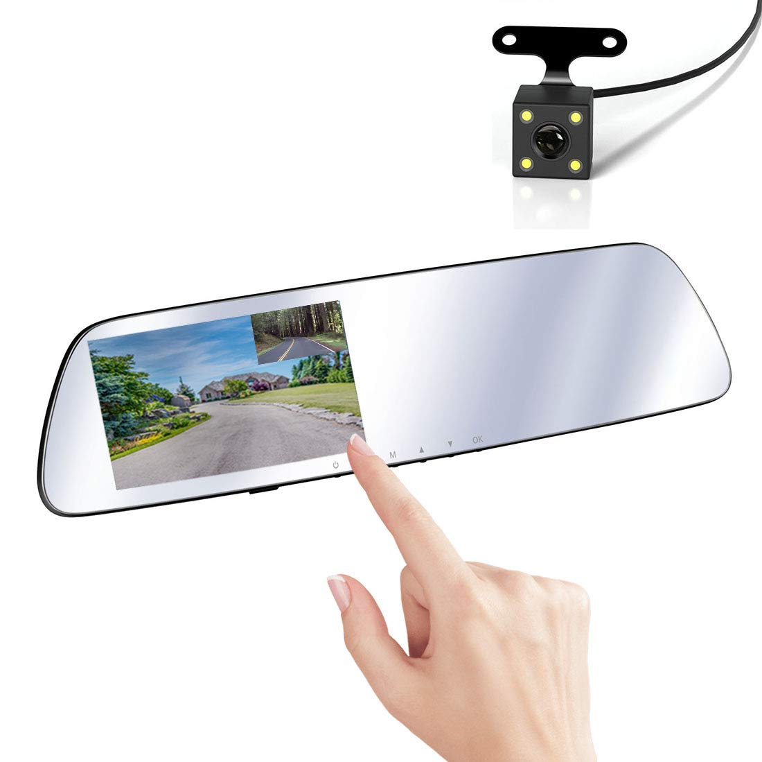 SmarTure 1296P HD Mirror Dash Cam with 5' IPS Touch Screen, Crystal Clear White Mirror, Dual Cameras, Enhanced Night Vision, Parking Assist, Parking Protection Mode M532B